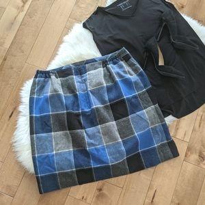TALBOTS - Plaid Wool Mini Skirt
